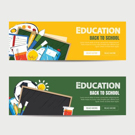 banner de la educación y a la plantilla de fondo de la escuela