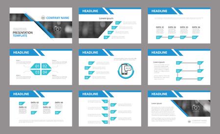 プレゼンテーション テンプレートのセットです。企業の年次報告書、チラシ、マーケティングで使用します。  イラスト・ベクター素材