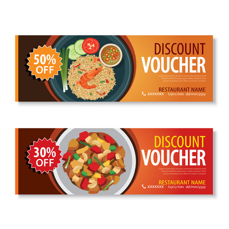 curry rice: discount voucher template with thai food flat design