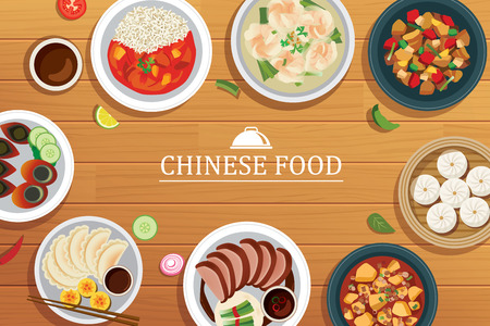 chinese food on a wooden background.Vector chinese food top view.