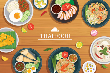 curry rice: thai food on a wooden background.Vector thai food top view