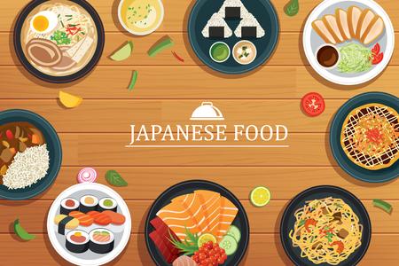 Japans voedsel op een houten background.Vector Japans eten bovenaanzicht. Vector Illustratie