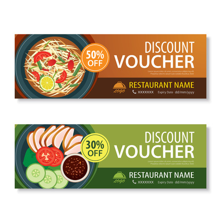 flyer background: discount voucher template with thai food flat design