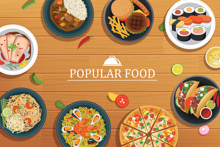 popular: popular food on a wooden background.Vector popular food top