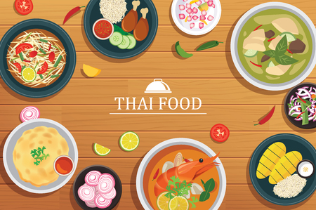 thai food on a wooden background.Vector thai food top view