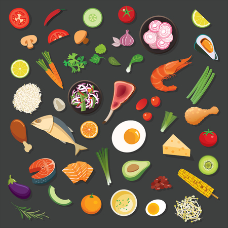 food and ingredients background vector flat design  イラスト・ベクター素材
