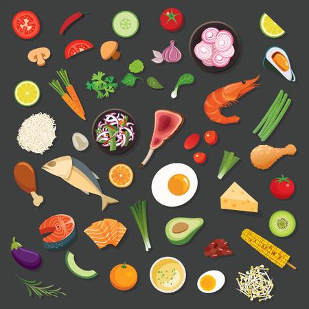 alimentos e ingredientes de vectores de fondo diseño plano Ilustración de vector