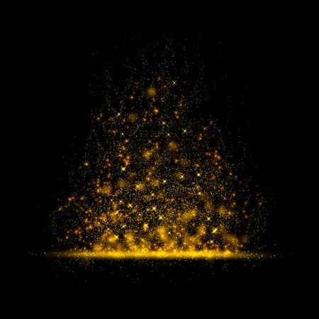 polvo: Oro brillante polvo mágico estrella en background.Particles para su producto. Foto de archivo