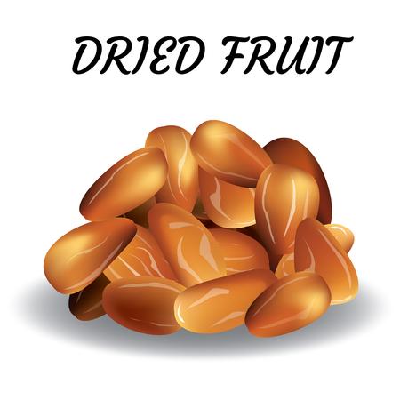 Dried date palm fruits or kurma, ramadan food.Illustration of Eid Kum Mubarak