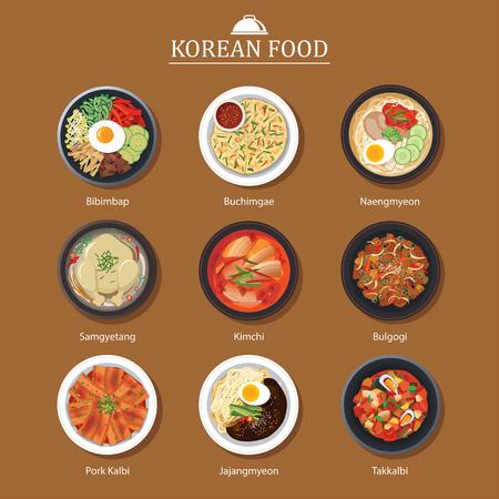 Set van Koreaans eten plat ontwerp. Asia straat eten illustratie achtergrond. Stock Illustratie