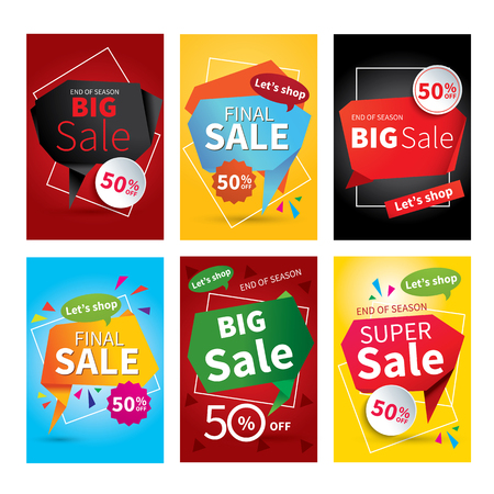 vector banner: Set of sale website banner templates.Social media banners for online shopping. Vector illustrations for posters, email and newsletter designs, ads, promotional material. Illustration