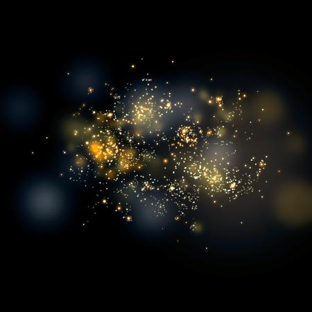 Glittering stars on bokeh. Golden Christmas Glitter Lights Defocused Background Stock Photo