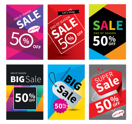 Social media sale banners and ads web template set. Vector illustrations for website and mobile banners, posters, email and newsletter designs, ads, coupons, promotional.  イラスト・ベクター素材