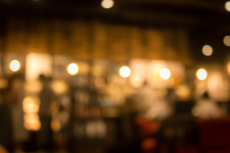 Cafe blur background with bokeh.Restaurant abstract blur. Archivio Fotografico