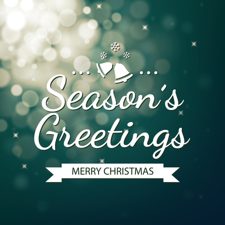 season greetings: Season greetings with green bokeh defocused background Illustration