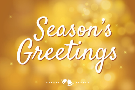 Seasons greetings with gold bokeh background for christmas theme