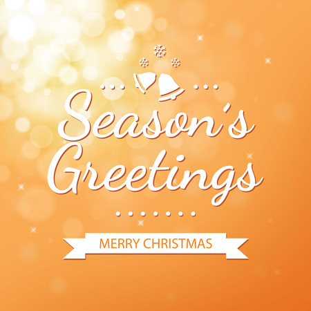 season: Season greetings with gold bokeh defocused background for christmas
