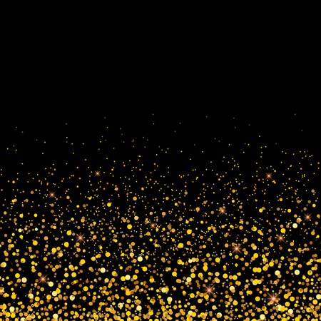 Vector gold glitter particles background effect for luxury greeting rich card.Golden grainy abstract texture.