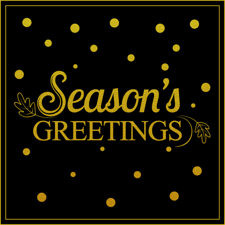 greetings card: Vector gold seasons greetings card design.Vintage card for holidays.