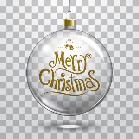 Bola de cristal de la Navidad del vector en el fondo transparente. Navidad plantilla de decoración de la bola se puede utilizar cualquier color de fondo Foto de archivo - 66497312