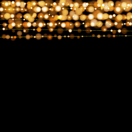 Christmas lights design elements background. Glowing lights for Xmas Holiday greeting card design