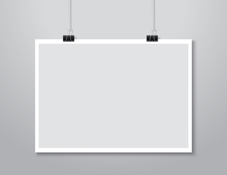 clamps: white paper hanging on background. Illustration