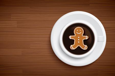 mug: coffee mug with gingerbread man shape on brown wood table
