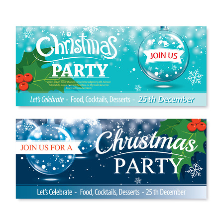 christmas banner: Invitation merry christmas banner and card design template.Glass ball theme concept.
