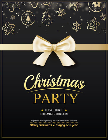 Invitation merry christmas party poster banner and card design template. Happy holiday and new year with gold ribbon theme concept.