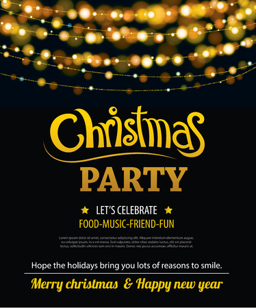 party design: Invitation merry christmas party poster banner and card design template. Happy holiday and new year light theme concept.