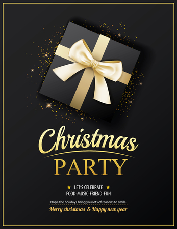 christmas poster: Invitation merry christmas party poster banner and card design template. Happy holiday and new year with gift boxes theme concept.