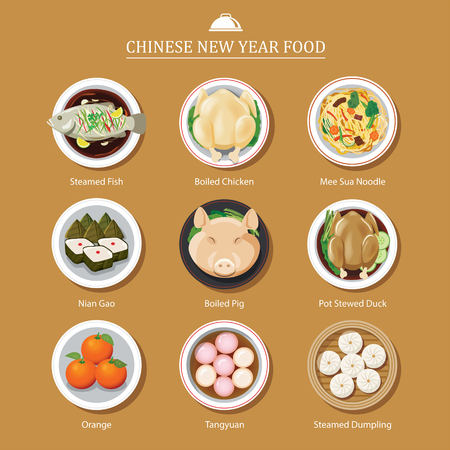 food for chinese new year Иллюстрация