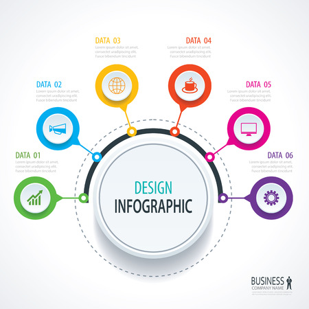 Abstract circle infographics number options template. Vector illustration background. Can be used for workflow layout, diagram, data, business step options, banner, web design. 向量圖像