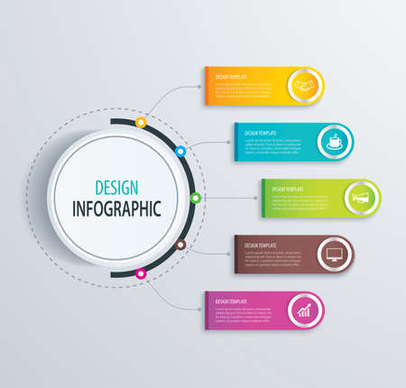 marketing concept: Timeline infographic design vector and marketing icons.Can be used for workflow layout, diagram, data, options, banner, web design.Business concept with 5 steps or processes.