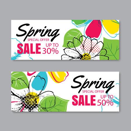 Plantilla de la bandera de la venta de la primavera con la flor colorida. Puede ser vales del uso, papel pintado, aviadores, invitación, carteles, folleto, descuento del cupón. Foto de archivo - 72982759