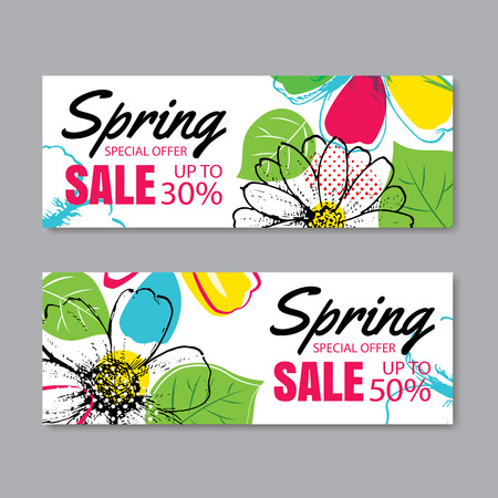 spring sale: Spring sale banner template with colorful flower.Can be use voucher, wallpaper,flyers, invitation, posters, brochure, coupon discount.