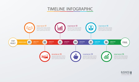 Infographic timeline template business concept.Vector can be used for workflow layout, diagram, number step up options, web design ,annual report