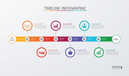 Concepto de negocio de plantilla de línea de tiempo de infografía.Vector se puede utilizar para el diseño de flujo de trabajo, diagrama, opciones de paso de número, diseño web, informe anual Foto de archivo - 73708971