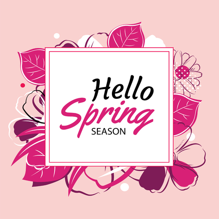 pink banner: Hello Spring pink banner template with colorful flowers. Illustration