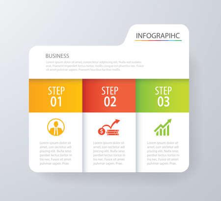 Infografisch tabblad index ontwerp vector en marketing template business. Kan gebruikt worden voor workflow layout, diagram, jaarverslag, webdesign. Business concept met 3 opties, stappen of processen. Stockfoto - 73709923