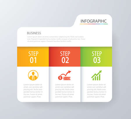 Infographic tab index design vector and marketing template business. Can be used for workflow layout, diagram, annual report, web design. Business concept with 3 options, steps or processes. Stok Fotoğraf - 73709923