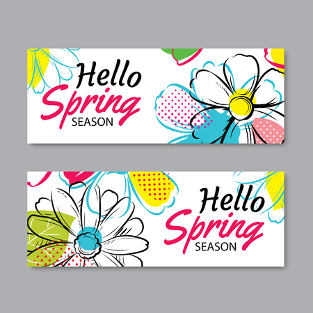 season: Hello Spring Season banner template with colorful flowers.