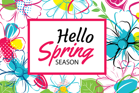 flower layout: Hello Spring Season banner template with colorful flowers.