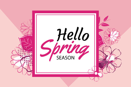 pink banner: Hello Spring Season banner template with pink flowers. Illustration