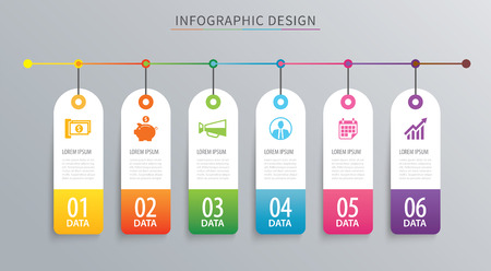 Infographics tag banner 6 option template. Vector illustration background. Can be used for workflow layout, data, business step, web design.  イラスト・ベクター素材