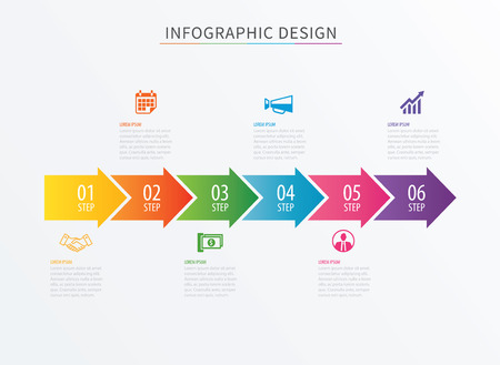 Infographics arrow number 6 step template. Vector Process chart background. Can be used for workflow layout, diagram, data, business options, banner, web design.
