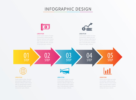 Infographics arrow number 5 step template. Vector Process chart background. Can be used for workflow layout, diagram, data, business options, banner, web design.
