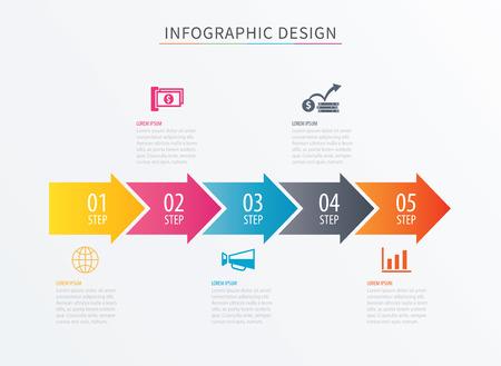 Infographics freccia numero 5 passo modello. Vector Background del grafico di processo. Può essere utilizzato per layout del flusso di lavoro, diagramma, dati, opzioni commerciali, banner, web design. Vettoriali