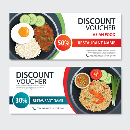 Discount voucher asian food template design. Thailand set Illustration