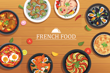 french food on a top view wooden table background Illustration